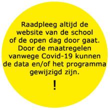 Open dagen waarschuwing COVID-19 Corona